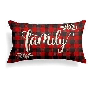 Christmas Family Pillow Cover Buffalo Plaid 12x20